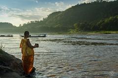 Monk @ Mekong (jennifer.stahn) Tags: travel orange river boat nikon asia asien jennifer monk laos mekong luangprabang luang reise prabang mönch stahn d7000 aroundasia