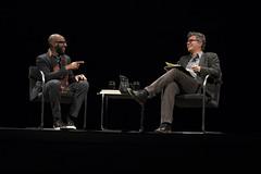 Teju Cole with Amitava Kumar (lannanfoundation) Tags: red santafe literary nigeria writer lensic opencity amitavakumar tejucole nigerianauthor lannanfoundation readingandconversation everydayisforthethief