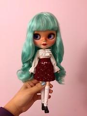 Marina in a crochet skirt. I really love her hair :3 (florayah) Tags: blythe blythedoll customblythe