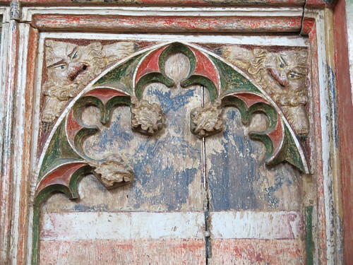 Carvings on manorial pew panelling - once part of a parclose screen