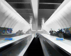 Sliding Up and Sliding Down (Steve Taylor (Photography)) Tags: blue people woman man black men art face lines station stairs digital hair underground grey women escalator tube steps perspective staircase curve northernline esculator