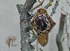 The warrior's honor_5 (~Gilven~) Tags: metal beads jewelry medieval bead warrior pearl swarovski pendant chainmail garnet beadembroidery japanesebeads foggyforest swarovskipearl
