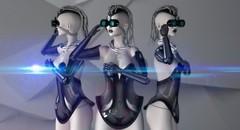 Ménage à trois (Dita *is Catching Up* Actor) Tags: minimal secondlife futuristic droid gynoid wiccaswardrobe fantasygachacarnival lyricalbizarre maitreyalara qweenb lelutkasimone lugianecklace r2miyuki