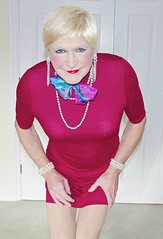 (donnacd) Tags: red white black stockings panties scarf hair gold necklace donna tv shoes pumps dress legs cd bra fishnet tights polka crossdressing dressing blouse tgirl thong sissy tranny heels corset earrings collar dots jewels crossdresser crossdress ts crossed domina feminization clit travesti clitty feminized xdresser transgenre tgurl