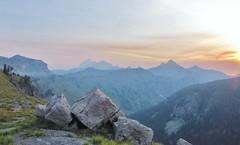 Smoke Haze Sunrise, Teton Crest Trail (wldrns) Tags: sunrise hiking backpacking wyoming grandtetonnationalpark deathcanyon tetoncresttrail westernfires firehaze deathcanyonshelf