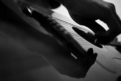 Guitar Reflection (Nickon... not Nikon) Tags: shadow musician music reflection monochrome guitar strings guitarist