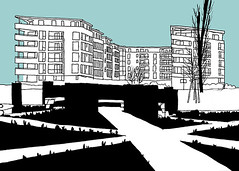 Garden of Religions_Sdoststadt, Sdstadt-Ost or City Park_Karlsruhe, January 2016 (stevefaradaysketches) Tags: germany garden flats paths radiate karlsruhe religions urbansketch gardenofreligions