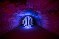 Archival culvertising (- Hob -) Tags: longexposure blue red lightpainting underground concrete raw orb tunnel leds culvert airraidshelter singleexposure 5481