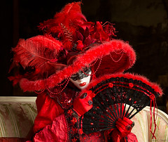 VeniceCarnival-Palace-02 (cheryl strahl) Tags: carnival venice costumes red italy beauty hat festival pose fan model photoshoot feathers masks casagredohotel 15thcenturypalace