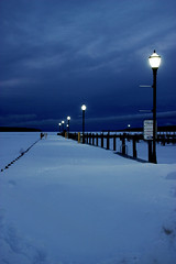 good night blue (annanewhouse@ymail.com) Tags: street blue winter sky snow nature clouds lights pretty michigan greatlakes boardwalk dust lakesuperior zone twlight michiganwinter