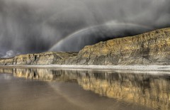 Cliffs of gold (pauldunn52) Tags: seascape heritage beach hail wales clouds temple bay coast rainbow sand dramatic cliffs glamorgan limestone showers liassic