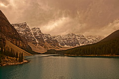 Moraine Lake (ryan.kole32) Tags: travel trees lake canada reflection water clouds forest rockies outdoors nationalpark cloudy hiking sony windy stormy alberta banff rockymountains moraine banffnationalpark morainelake canadianrockies banffalberta sonya77