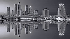 Reflections of the skyline of Tampa, Florida, U.S.A. along the banks of the Hillsborough River (jorgemolina37) Tags: city longexposure urban blackandwhite usa reflection building skyscraper river tampa cosmopolitan nikon downtown cityscape realestate tampabay metro florida highrise metropolis hotels residential citycenter graysky metropolitan centralbusinessdistrict davisisland hillsboroughriver sunshinestate bushgardens yborcity officetowers commercialbuilding reflectiononwater oldhydepark rivergatetower jorgemolina westernflorida centralfinancialdistrict