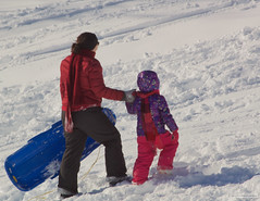 Going Up (leelanau2010) Tags: blue winter red usa white snow kids mi fun parents lucy crazy sister christopher bumpy sledding northwoods