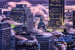Vendredi matin/Friday morning/Fredag i morse (Elf-8) Tags: city morning winter sky cloud cold skyline dawn montreal fume