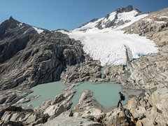 Brewster Glacier and Mt Brewster (blue polaris) Tags: park new mountain lake landscape island mt hiking top south glacier mount zealand national brewster heavy tramping aspiring