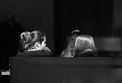 Talking girls and the ghost photographer (mkorolkov) Tags: street city ladies girls blackandwhite sunlight reflection window monochrome hair cafe sitting photographer candid ghost streetphotography talk fujifilm conversation talking xe1 xc50230