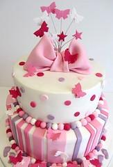 PinkButterfly (ommnom) Tags: pink stars butterflies christening girlie bows babyblocks namingday christeningcake
