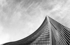 Glass mountain (xeyu134) Tags: windows sky blackandwhite mountain glass architecture buildings russia moscow streetphotography bnw calmness