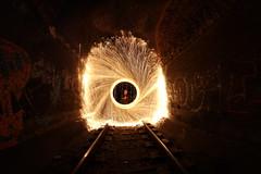 Paille de fer avec objectif fish-eye -- Steel wool with fish-eye lens (simon.rohou) Tags: light lightpainting painting steel tunnel rails fer paille whool