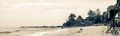 waiting for summer (dobromir.dimitrov) Tags: sea sky panorama beach monochrome clouds pier seaside sand warm sunny foam splittone