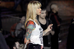 ...she came to dance (professional recreationalist) Tags: street party woman hot beautiful tattoo lady diy dance breasts pretty tank bokeh cigarette bare smoke pale bust blonde brucedean professionalrecreationalist shoulder tat victoriabc wifebeater sleeveless