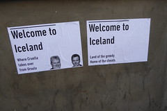 Protest posters for the revolution in Iceland (soellution) Tags: white black building iceland funny protest anger revolution ironic current resignation