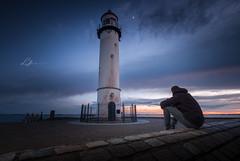 Moonrise Sunset... Watching (Lefers.) Tags: sunset people lighthouse seascape netherlands clouds landscape fuji watching nederland moonrise hellevoetsluis fujinon vuurtoren f4 xt1 1024mm