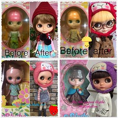 My 4 blythe dolls custom by me..  Do u see my little progressing for this hobby??? 😂😁😜..  Lol..
