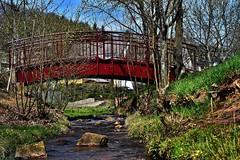 Red Bridge across the Creek (heinrich_511 on/off) Tags: city bridge light red color water creek heart stones bach thoughts d750 brücke hl föhren 1485mm nearbytrier