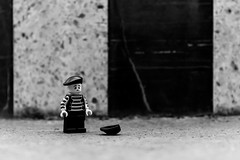 The hard life of the mime (Ballou34) Tags: bw white black paris hat canon toy toys photography eos rebel flickr lego stuck plastic mime buren colonnes afol 2016 minifigures toyphotography 650d t4i eos650d legography rebelt4i legographer stuckinplastic ballou34