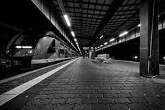 at the station II (Zesk MF) Tags: bw white black station night train nikon sigma zug bahnhof db 8mm bahn trier bahnsteig nachts longtime langzeit zesk