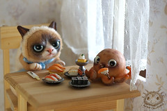 07 (rioky_angel) Tags: cute monster cat creativity toys furry handmade ooak fluffy fantasy clay octopus artdoll creature grumpy arttoy grumpycat toymaker polimerclay riokycreatures
