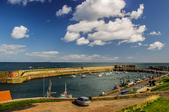 Ancient Harbour Dunbar (Brian Travelling) Tags: blue sky water clouds boats scotland pentax harbour machine bluesky northsea dunbar borders dunbarharbour pentaxkr