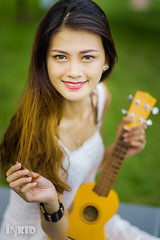 DSC06901 (inkid) Tags: portrait people woman white girl female model women pretty dof ukulele bokeh guitar f14 sony 85mm sigma indoor sin instrument string a900 hsm  syrill