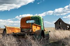 Weak and Weary (garshna) Tags: sky abandoned clouds truck ruins rusty washingtonstate tumbleweeds palouse americantrucks