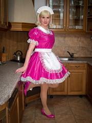 Hopelessly Pink (blackietv) Tags: pink white kitchen dress crossdressing tgirl apron transgender transvestite gown maid crossdresser petticoat pvc