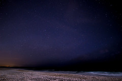 Under the Stars (L.Grey Photography) Tags: ocean sky beach nature water night canon stars rebel nc outdoor astrophotography wilmington sl1 wrightsville 10mm rokinon