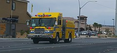Engine 24 of the Clark County Fire Department responding to a call. (mercysoup) Tags: urban rescue rural desert lasvegas nevada 911 casino resort led medical emergency paramedic ems emt siren fd 999 code3 lightsandsiren