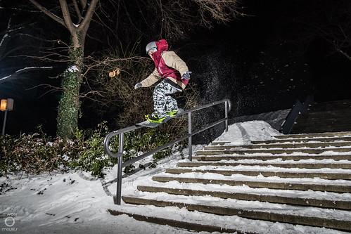 urban snowboarding, dresden, saxony, germany