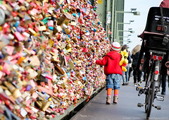 Childhood (Düc) Tags: bridge love germany walking deutschland colours child bokeh cologne köln locks schlösser lovelocks liebesschlösser