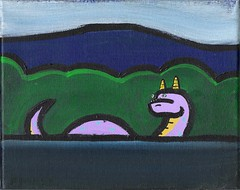 Lake Monster (Andy Finkle Art) Tags: monster illustration painting cartoon horns serpent cryptozoology cryptid finkle