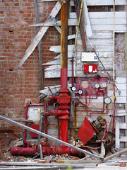 Red Pipework (Steve Taylor (Photography)) Tags: wood city red newzealand christchurch brown white brick broken strange wall weird rust iron pipe dial demolition canterbury odd nz southisland cbd smashed pressure rubble weatherboard grinnel
