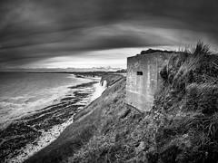 cliff defences (M Tyson) Tags: sea sky blackandwhite cliff storm home army war top yorkshire wwii guard olympus ww2 dads defensive armedforces omd bridlington costal pillbox abandond em5