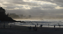 summer rain (bobarcpics) Tags: sea people mist storm rain silhouette clouds waves shoreline queensland headland greenmount rainbowbay australianbeaches