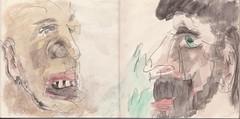 """dass der eine der Chinese"""" war, konnte er sich vorstellen. Dann musste der andere der Mann aus den Bergen sein (raumoberbayern) Tags: summer bus pencil subway munich mnchen sketch drawing sommer tram sketchbook heat ubahn draw bleistift robbbilder skizzenbuch zeichung"""