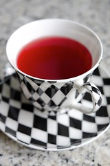 Strawberry Tea (The Green Album) Tags: red cup stone diamonds design healthy graphic tea drink vibrant simplicity granite saucer harlequin
