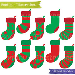 Christmas Stockings Clipart Set. 10 Christmas Stockings Clipart Digital Vectors in Red and Green. Commercial Use* Jpeg, Png, Eps Digitals. (bootiqueillustration) Tags: christmas xmas art stockings digital scrapbooking holidays clip commercial clipart use stocking etsy digtial digitals etsyuk cardmakng bootiqueillustration