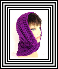 Purple Neon Crochet Scarf, Crochet Infinity Scarf, Crochet Cowl Scarf, Crochet Hooded Scarf, Crochet Hooded Cowl, Purple Neon Scarf, JOAN (strawberrycouture) Tags: scarf strawberry neon purple infinity crochet hood couture hooded cowl