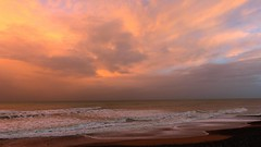 Mystic Pink Sunrise (KerKaya) Tags: ocean pink sea seascape france beach nature water colors clouds sunrise landscape waves mood colours normandy kerkaya